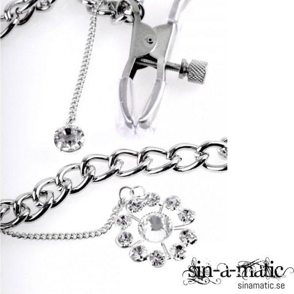 Crystal Nipple Clamps, klämmor för bröstvårtorna med en liten kristall