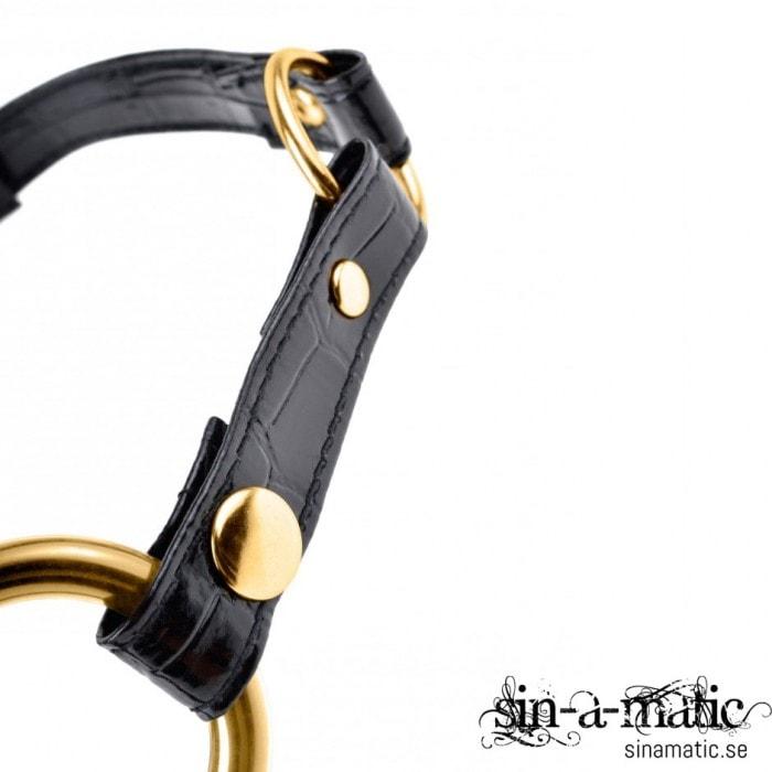 O ring Gag i metall, guld färgad med kardborrar
