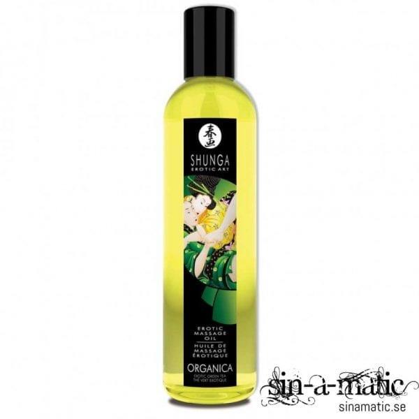 Erotisk massageolja med smak av grönt te