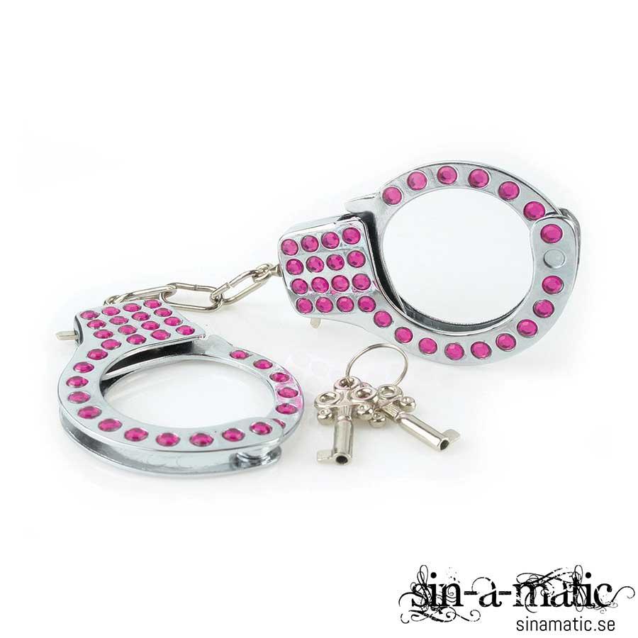 Fetish Fantasy, fancy cuffs, handbojor i stål med snygga rosa kristaller