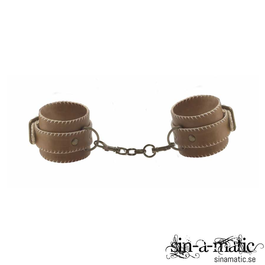 Ouch Leather Hand Cuffs - Brown