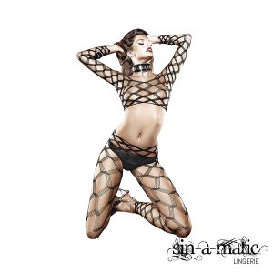 BACI - TWO PIECE DIAMOND NET BODYSTOCKING