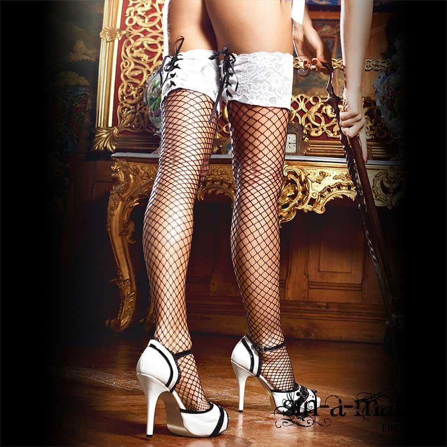 FISHNET THIGH HIGH STOCKINGS 1345 BACI BLACK