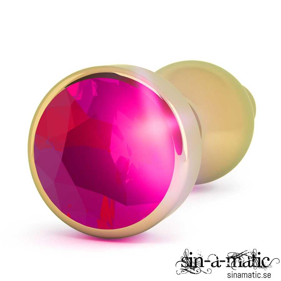 Buttplug Guld med snyggt smycke i from av en rubin