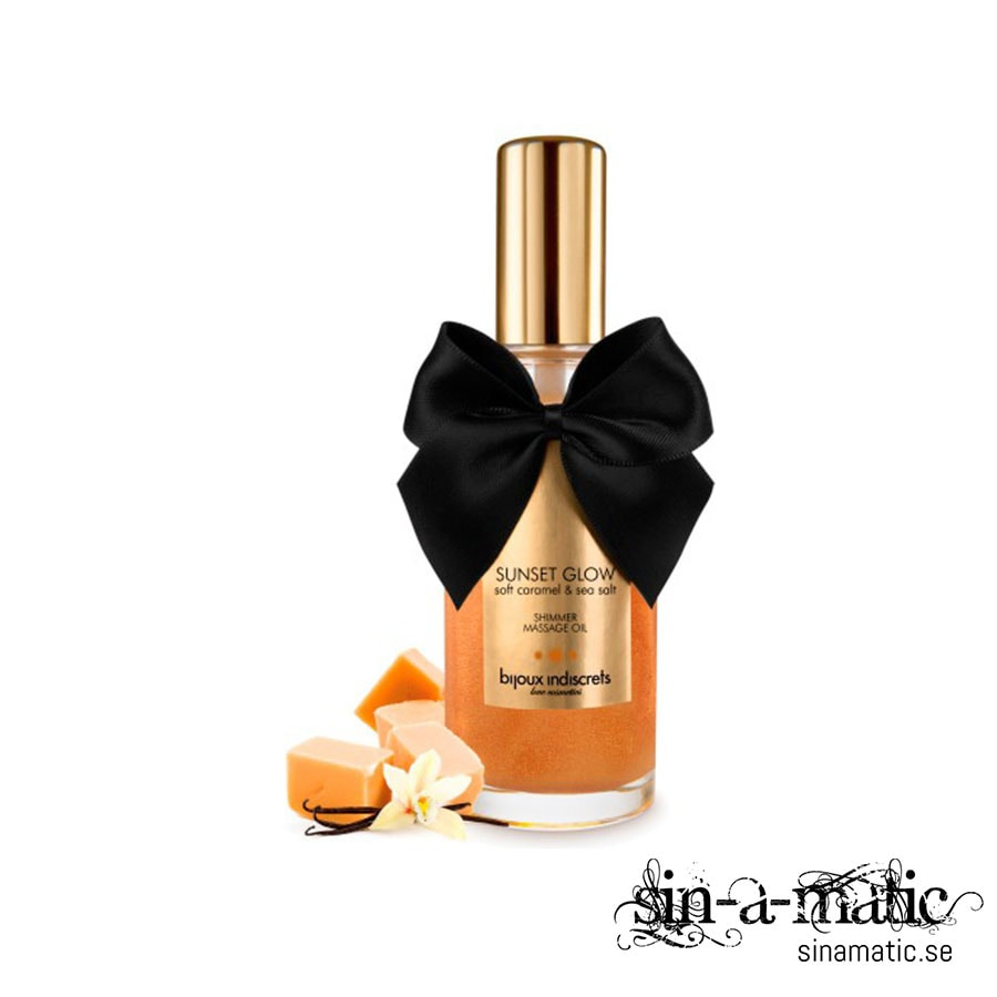 SUNSET GLOW SHIMMERING AND KISSABLE MASSAGE OIL BIJOUX INDISCRETS SOFT CARAMEL AND SEA SALT 100ML
