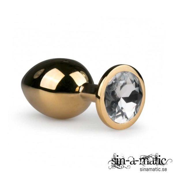 Golden Metal Buttplug, Stor Buttplug i Metall med Smycke