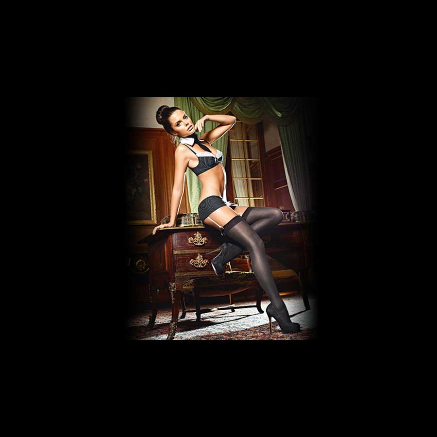 BACI snygga stayups med rosett | köp strumpbyxor online på sinamatic.se
