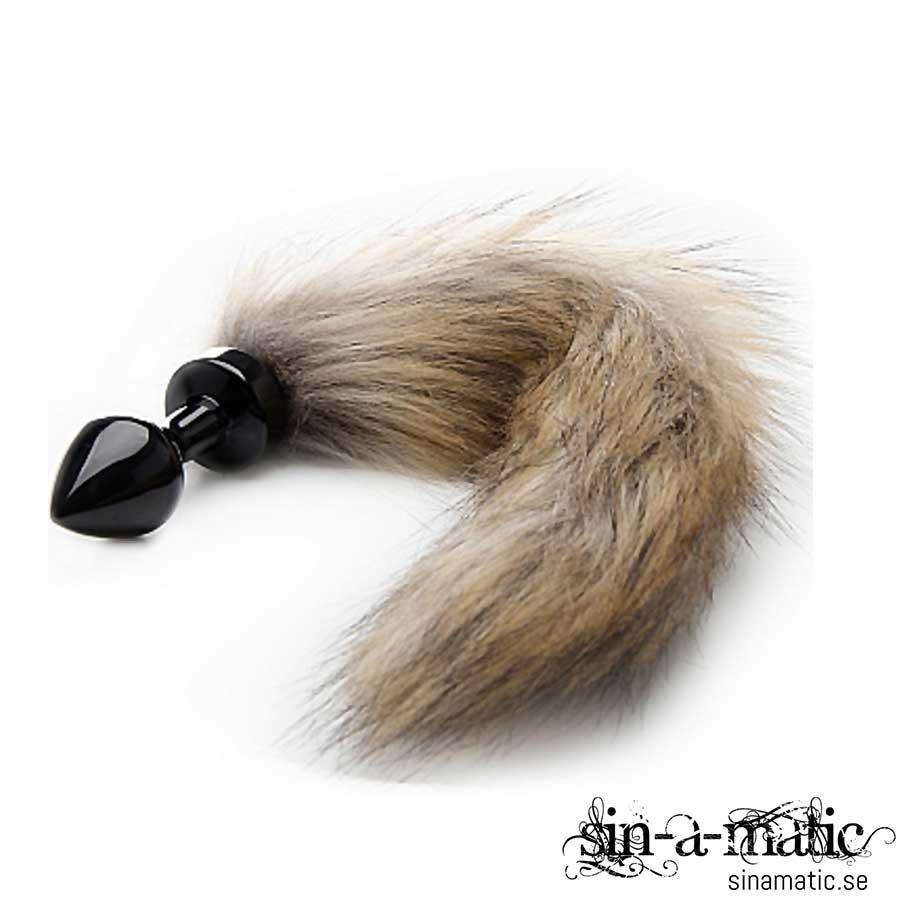 Buttplug med rävsvans - svart Ouch Fox Tail Buttplug - Black