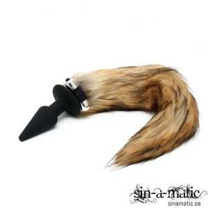 Silicone Butt Plug with Fox Tail med vibrator