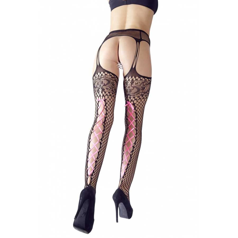 Suspender Tights Pink Ribbon