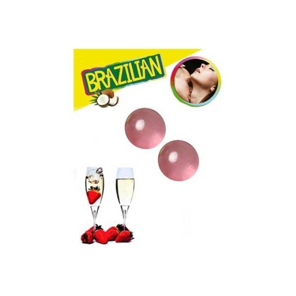 KISSABLE LUBRICANT BALLS STRAWBERRY CHAMPAGNE FLAVOUR 2 x 4GR