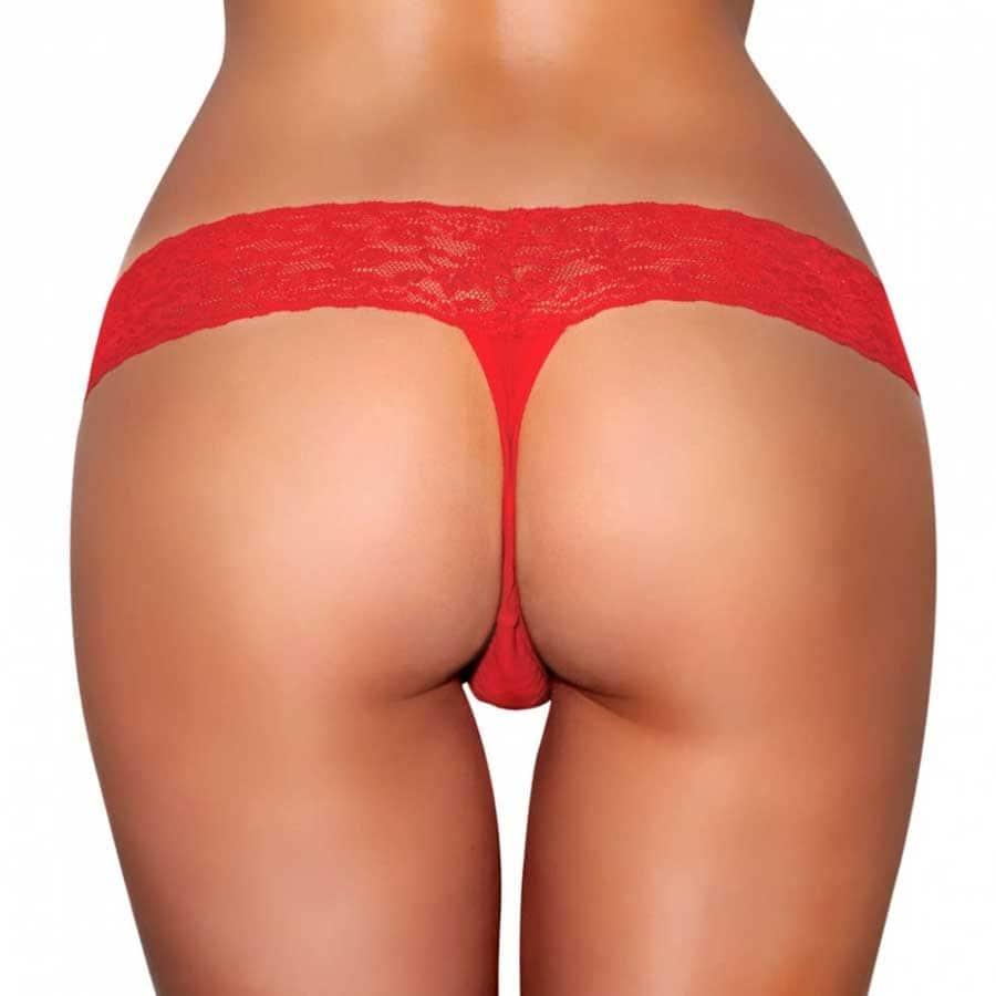 Hustler Vibrating Lace Thong Red