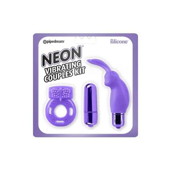 Neon Luv Vibrating Couples Kit - purple
