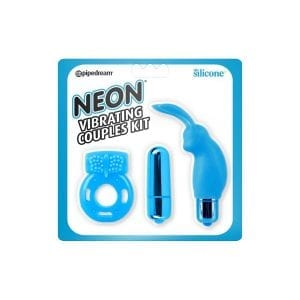 Neon Vibrating Couples Kit - Blue